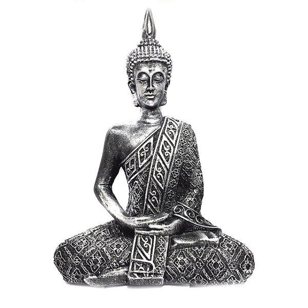 Buda Hindu Médio Prateado 21cm