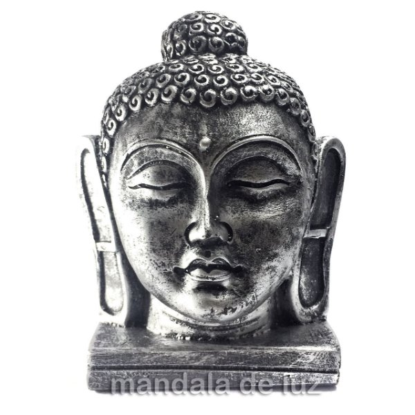 Cabeça de Buda Grande Prateada 16cm