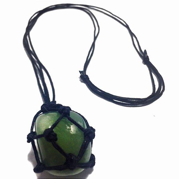 Colar de Pedra Castroada Quartzo Verde Natural