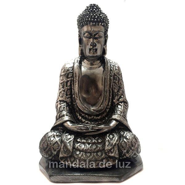 Estátua de Buda Hindu Prateado na base em Gesso 22cm