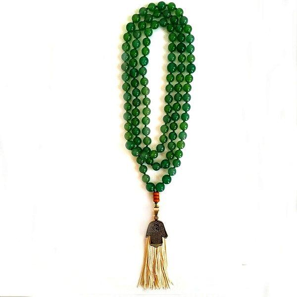 Japamala Quartzo Verde 108 Contas de Cristais Mantrados - 804