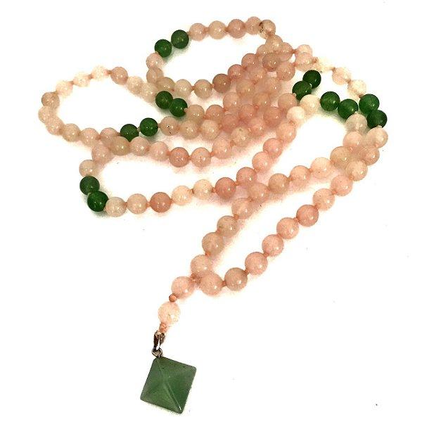 Japamala Quartzo Verde e Quartzo Rosa 108 Contas de Cristais Mantrados