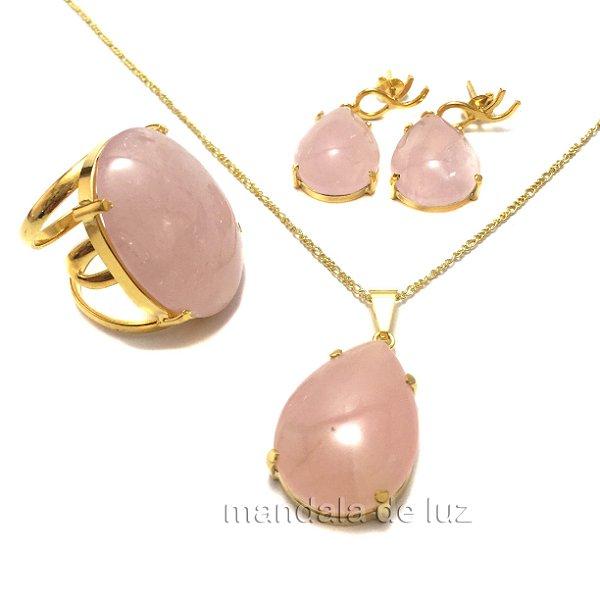 Conjunto Brinco Anel e Colar de Quartzo Rosa Dourado