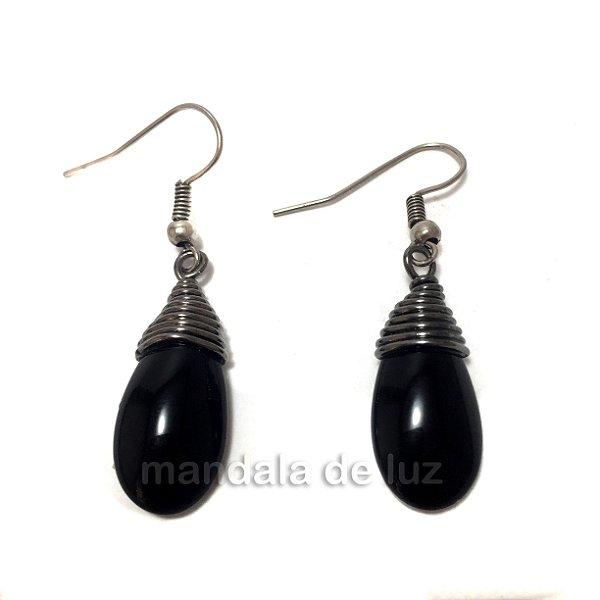 Brinco Pedra Obsidiana Negra Prateado
