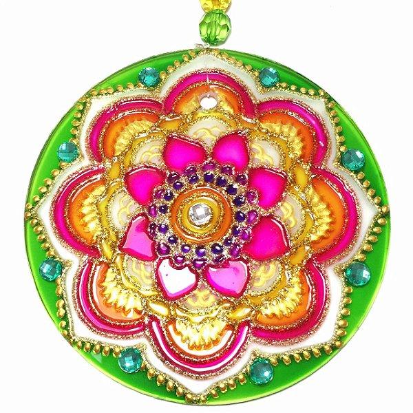 Mandala de Vidro Flor Verde Rosa 10cm