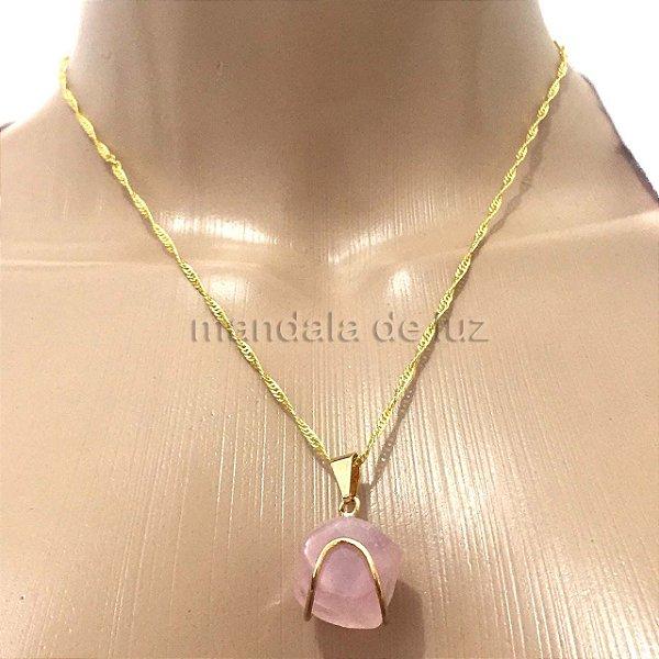 Colar Folheado Ouro Cristal Natural de Quartzo Rosa