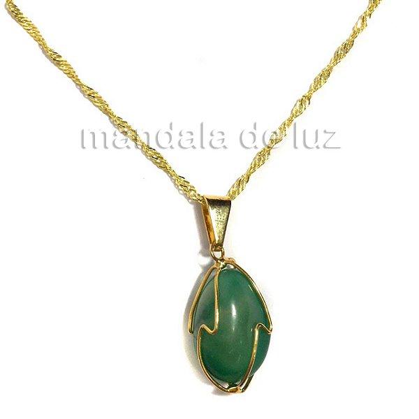 Pulseira Folheada Ouro Pingente Quartzo Verde