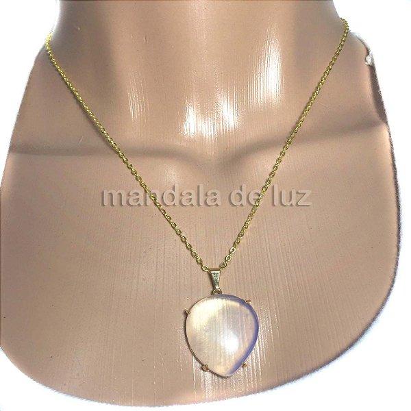 Colar Folheado Ouro Pingente de Opalina Pedra da Lua