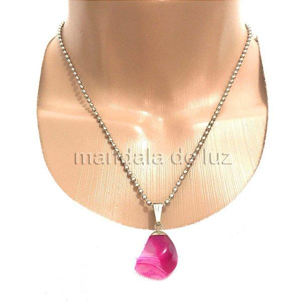 Colar Prateado de Pedra Ágata Rosa Pink