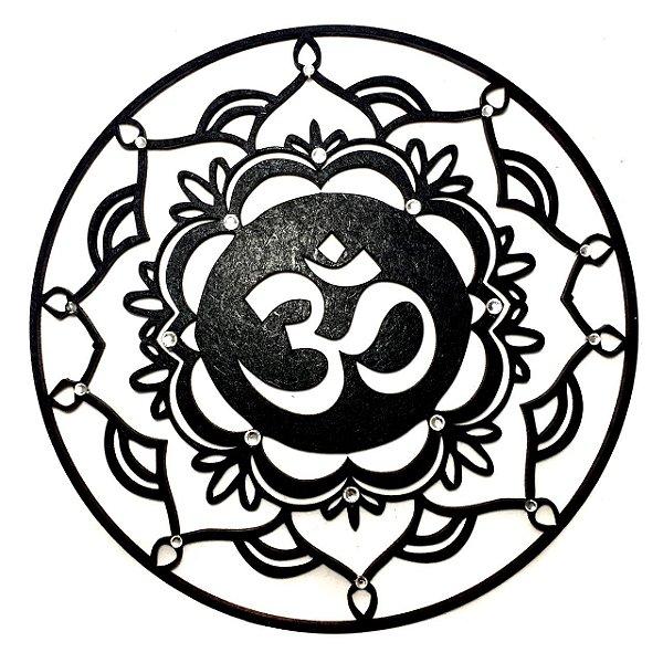 Mandala Mdf Preta com Strass 768