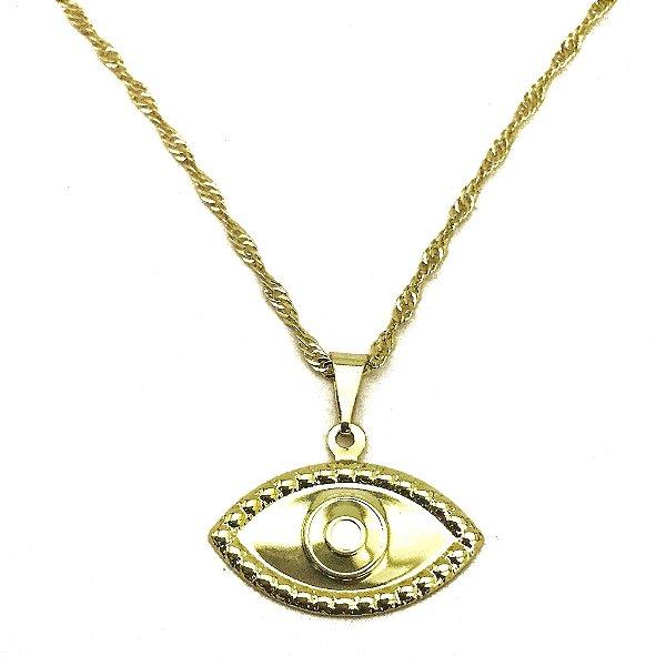 Gargantilha Folheado a Ouro Olho Grego - 636