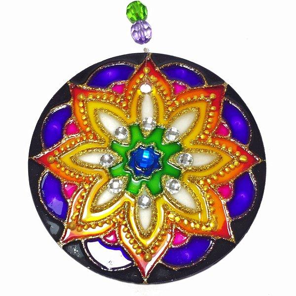 Mandala de Vidro Flor Amarela 10cm
