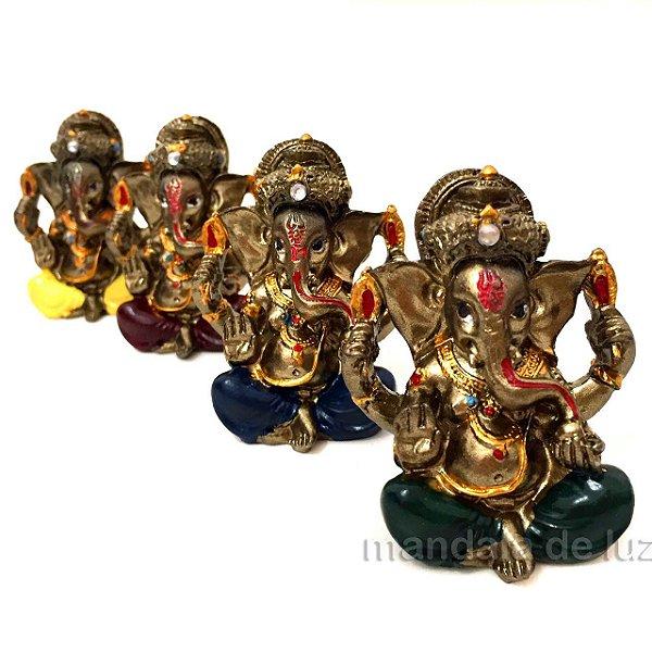 Estátua de Mini Ganesha Colorido Deus Prosperidade 5cm