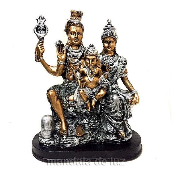 Estátua Família Shiva, Parvati, Ganesha Dourado e Prateado 26,5cm