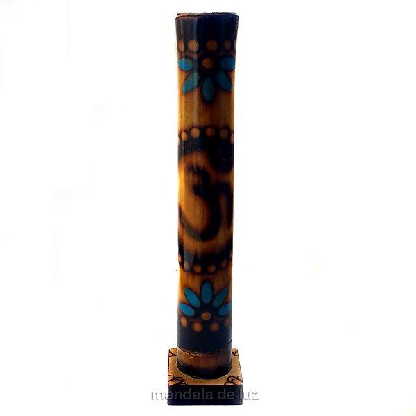 Incensário Pirografado de Bambu Símbolo OM Azul