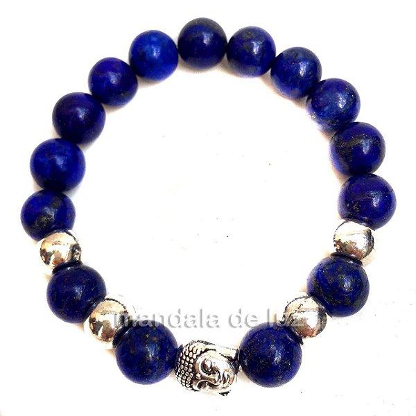 Pulseira de Esferas de Lápis Lazuli Buda Prateado