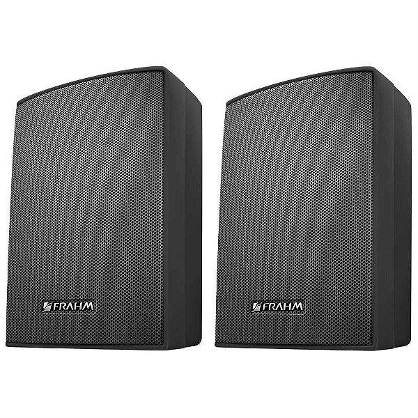 Caixa de Som Acústica Frahm PS200 Plus C/ Suporte Preta Par