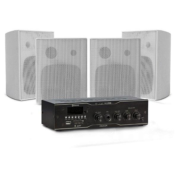 Kit PS Frahm - Amplificador Slim 1000 + 4 Caixas PS 200 Plus