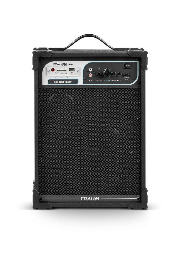 Caixa De Som Amplificada Multiuso Frahm Ca Battery Preta - USB SD FM - 50W Rms