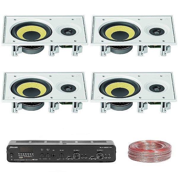 Kit Amplificador Slim 2500 APP Frahm + 4 Arandelas Retangulares CI6R 240W  JBL + Brinde