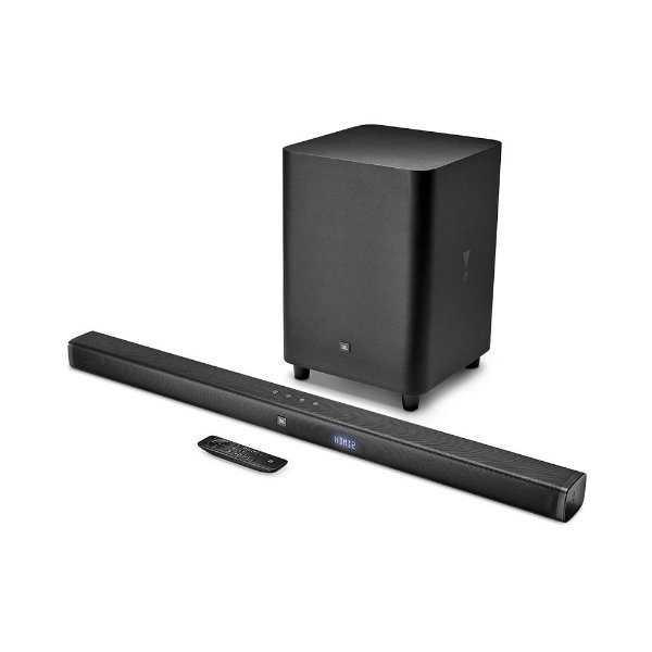 "Soundbar JBL Bar 3.1 com subwoofer sem fio 10"", Bluetooth, HDMI 4K ARC, USB"