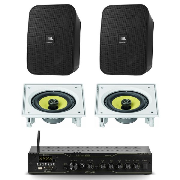 Kit Amplificador Slim 3500 APP Optical Multi-channel Frahm + 2 Caixas Control X JBL + 2 Arandelas CI6S JBL