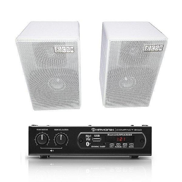 Kit Amplificador Compact 200 Hayonik + 2 Caixas Acústicas CSR 75M Passivas 80W Rms + Brinde