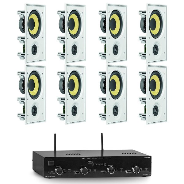 Kit Amplificador RD 480 Wi-Fi Frahm + 8 Arandelas CI6R Retangulares 480W Rms JBL