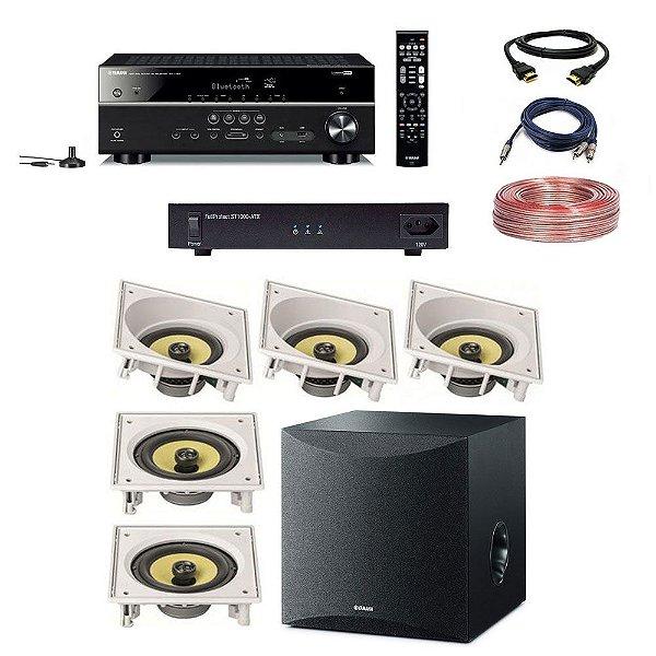 Kit Home Theater Completo 5.1 220V - Subwoofer Yamaha Ns-Sw050 + Receiver Yamaha RX-V385 + ST1000-ATX Engeblu + Arandelas JBL CI6SA CI6S + Cabos