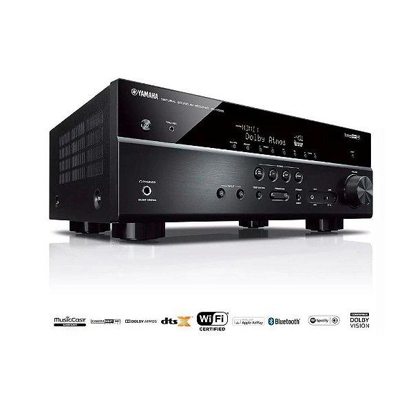 Receiver Yamaha RX-V585 BL 7.2ch Dolby Atmos BT Wi-Fi AirPlay 4K UHD HDR10 Zona B - Bivolt