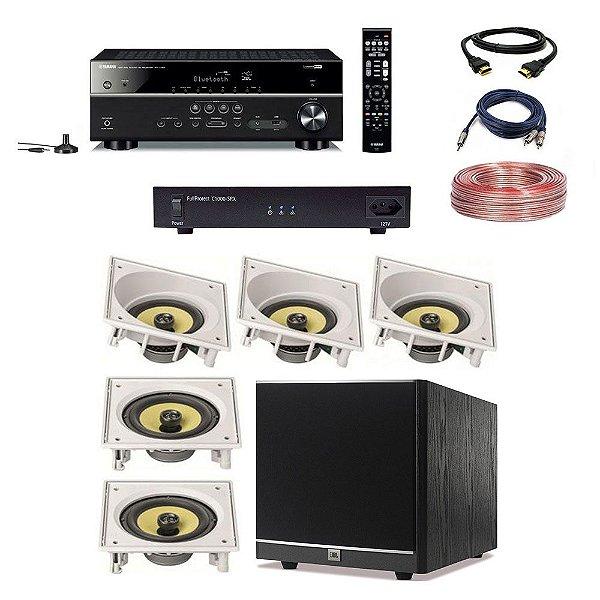 Kit Home Theater Completo 5.1 110V - Subwoofer JBL Arena 100P + Receiver Yamaha RX-V385 + C1000-SRX Engeblu + Arandelas JBL CI6SA CI6S + Cabos