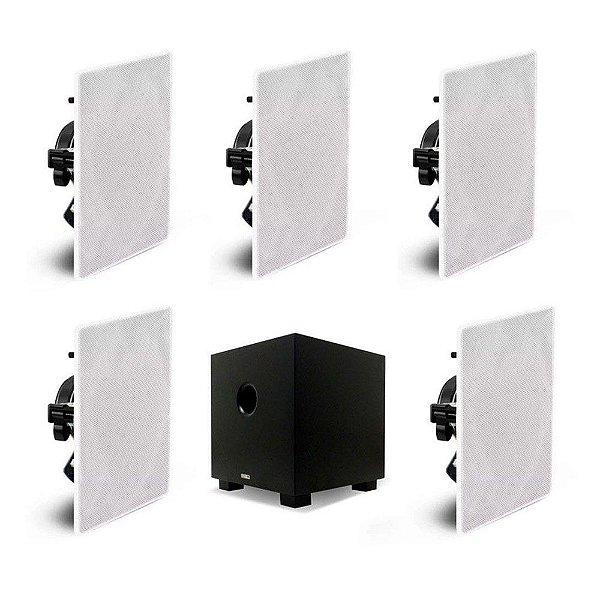 "Kit Home Theater 5.1 AAT - 5 Arandelas Quadradas NQ6-100 + 1 Subwoofer Compact Cube 8"""