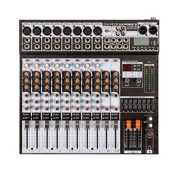 Mesa de Som Mixer Soundcraft SX 1202 FX USB - 12 Canais