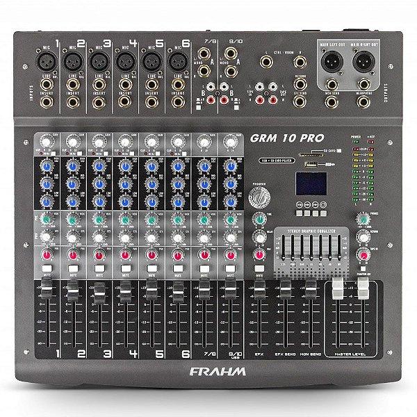 Mesa de Som Mixer Frahm GRM 10 PRO USB - 10 Canais