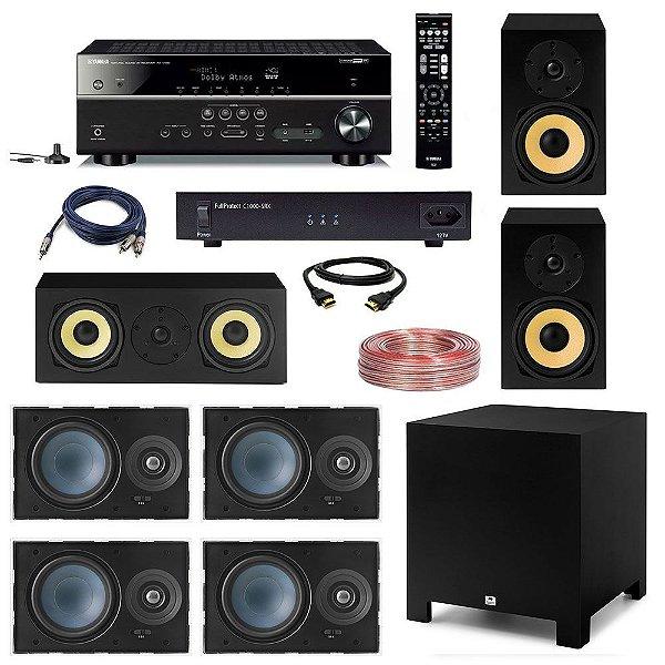 "Kit Home Theater Dolby Atmos Completo 5.1.2 110V - AAT Cube Rakt 10"" + Yamaha RX-V585 + Engeblu C1000-SRX + 4 AAT LR-E100 + 2 AAT Rakt BSF-70 + AAT Rakt C-140 + Cabos"