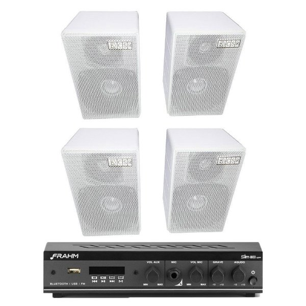 Kit Amplificador Slim 800 APP Frahm + 4 Caixas Acústicas CSR 75M Passivas 160W Rms + Brinde