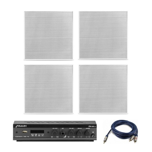 "Kit Amplificador Slim 800 APP Frahm + 4 Arandelas Frahm 6"" Quadradas Borderless 80W Rms + Brinde"