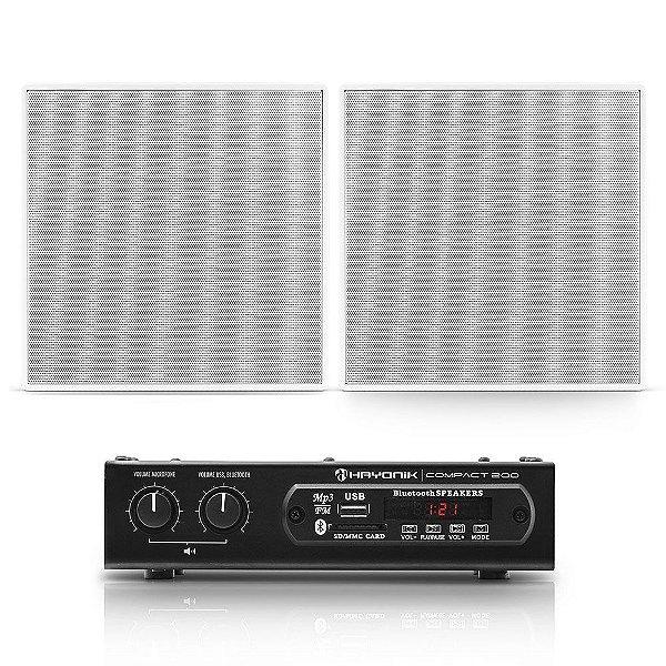 "Kit Amplificador Compact 200 Hayonik + 2 Arandelas Frahm 6"" Quadradas Borderless 80W Rms"