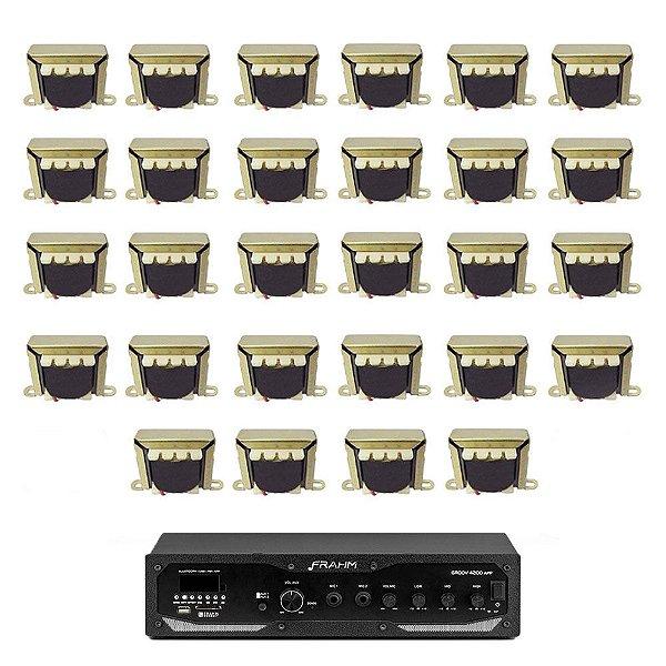 Kit Amplificador Frahm Profissional GR 4200 APP + 28 Transformadores de Linha 70V-10W
