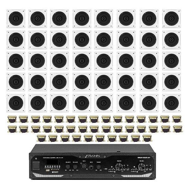 """Kit Amplificador Frahm Profissional GR 5000 APP + 40 Arandelas Frahm 6"""" Quadradas Borderless 40W Rms + 40 Transformadores de Linha 70V-10W"""