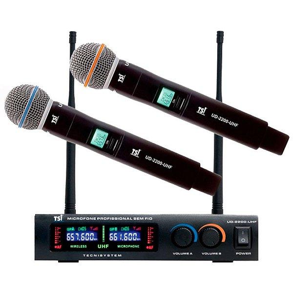 Microfone Sem Fio Duplo De Mão TSI UD-2200 UHF