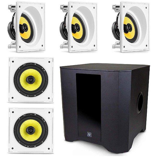 """Kit Home Theater 5.1 Frahm - 3 Arandelas 6"""" Quadradas Anguladas + 2 Arandelas 6CX Retas + 1 Subwoofer RD SW 8"""""""