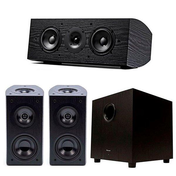 Kit Home Theater Pioneer - 2 Bookshelfs Elite SP-EBS73-LR Dolby Atmos + 1 Central SP-C22 + 1 Subwoofer Ativo SW10 Bivolt