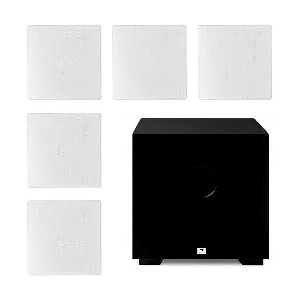 "Kit Home Theater 5.1 AAT - 3 Arandelas NQ6-A100 + 2 NQ6-M100 + 1 Subwoofer Compact Cube 8"""