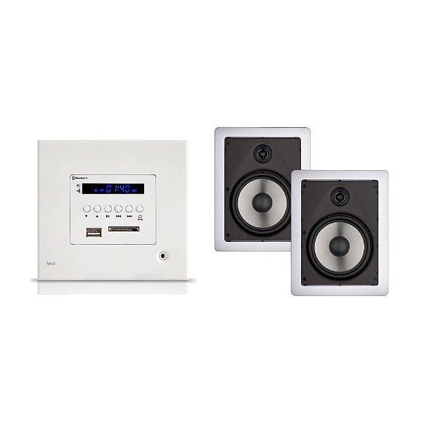 Kit Amplificador de Parede Loud Lac Lx Bt + 2 Arandelas Loud LR6 50W 2 Vias Brancas