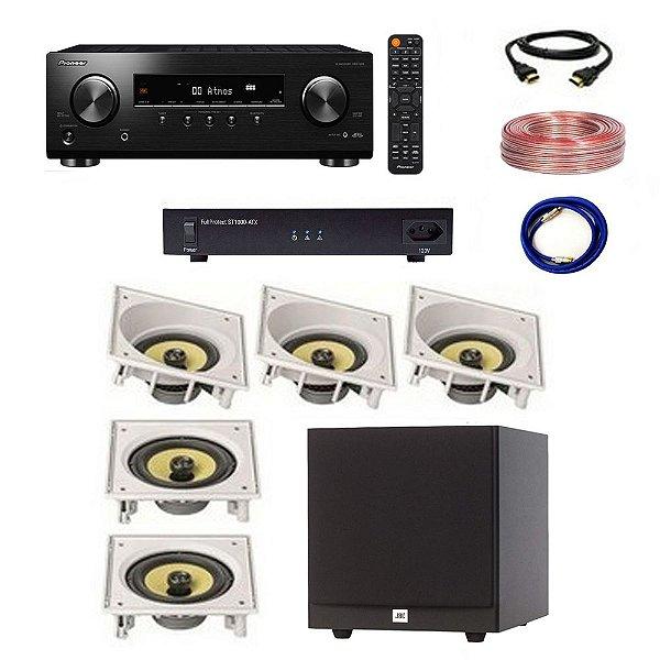 Kit Home Theater Completo 5.1 220V - Subwoofer JBL Stage A100P + Receiver Pioneer VSX-534 + ST1000-ATX Engeblu + Arandelas JBL CI6SA CI6S + Cabos