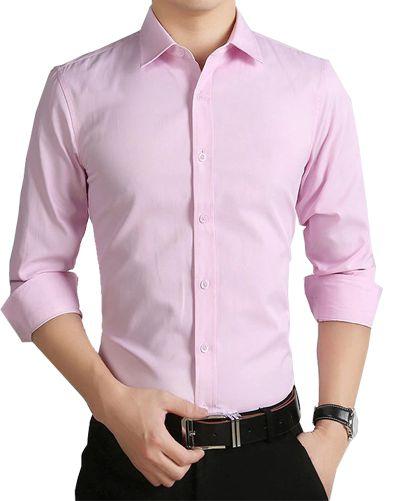 7d83ff90d0 Camisa Social Slim de Luxo Importada Masculina - COR Rosa Claro ...