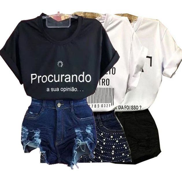 012785062 kit 10 Camisas T Shirts Feminina Com Frases variadas - Atacado Revenda