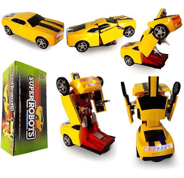 Carrinho Camaro Transformers Vira Robô Luz Som Bate Volta