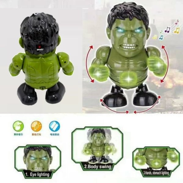 Robô Boneco Hulk Vingadores Infantil Com Som Luz E Dançarino